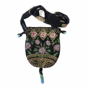 Made in India 100% Silk Lined Beaded Tassel Purse